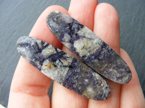 Indian Jasper Long Oval Cabs - Matching Pair
