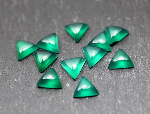Dyed Green Agate Triangular Cabs.