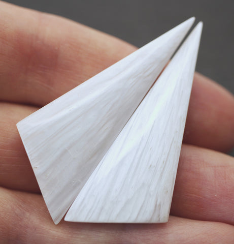Scolecite Triangular Cabs - Matching Pair