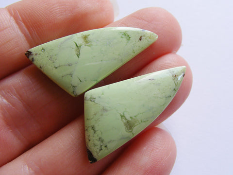 Lemon Chrysoprase Fancy Cabs - Matching Pair