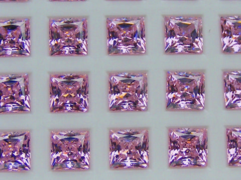 Cubic Zirconium - CZ - Pink Princess/Square Faceted Gems - by  Signity®
