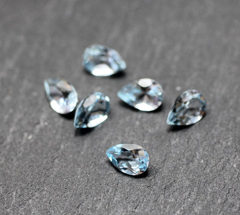Sky Blue Topaz Pear Faceted Gem - Vintage