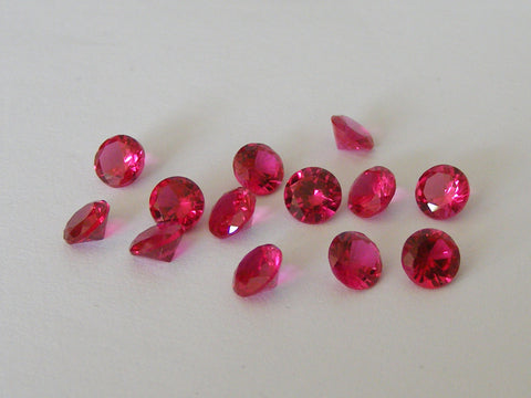 Synthetic Ruby Round Faceted Gems - Vintage Stones