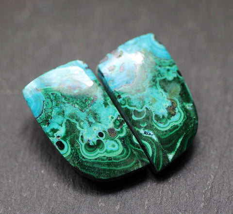 Azurite Malachite Fancy Cabs - Pair AAA Grade