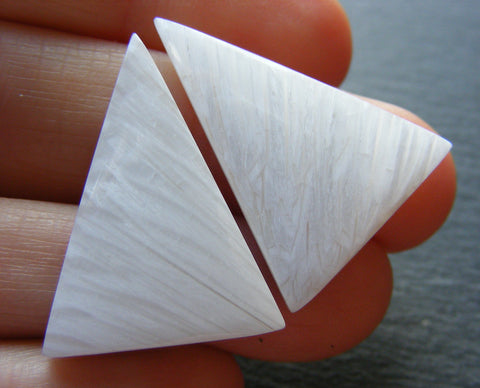 White Scolecite Triangular Cabs - Matching Pair