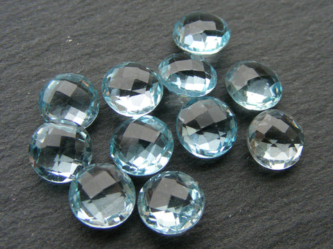 Vintage Sky Blue Topaz Double Chequer Round Briolettes.