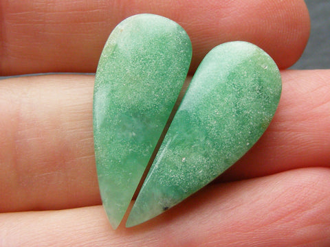 Chrysoprase Fancy Drop Cabs - Matched Pair