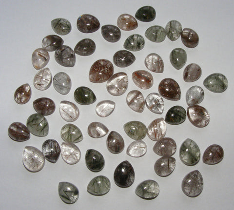 Mixed Rutilated Quartz Pear Cabs
