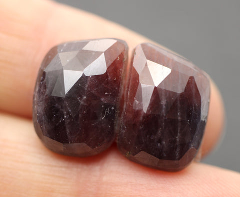 Sapphire Faceted Free Form Cabs - Pair