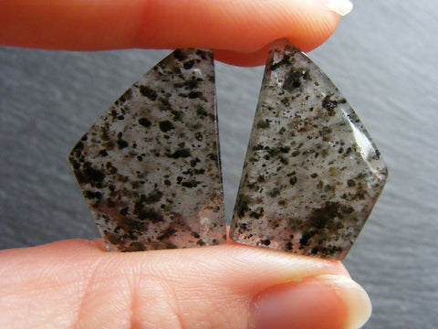 Black Dot Rutile Quartz Fancy Cabs- Matched Pair