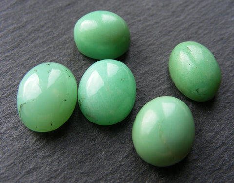 Chrysoprase Oval Cabs Project Pack - 5 Pieces