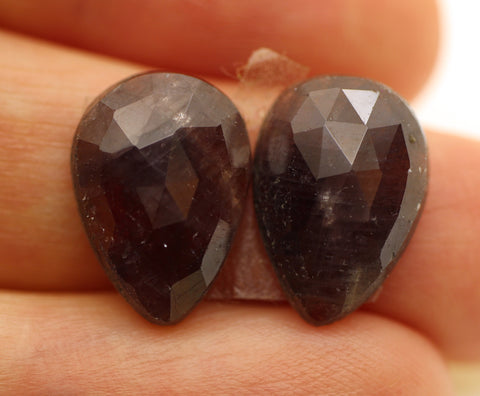 Sapphire Faceted Pear Cabs - Pair