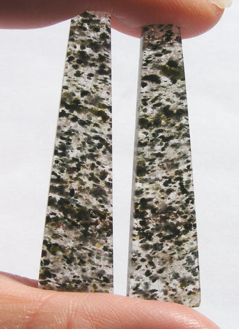 Black Dot Rutile Quartz Long Taper Cabs - Matched Pair