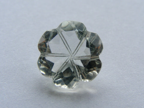 Green Amethyst Fancy Flower Cut Carved Back Gem