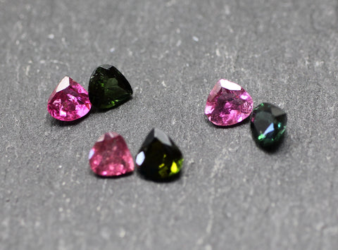 Tourmaline Faceted Pear Gems Pink And Green Twin Packs