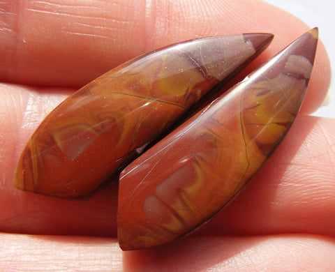 Mookaite Fancy Cabs - Matching Pair