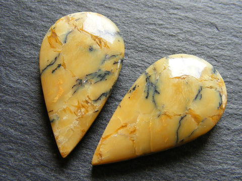 Dendritic Yellow Opal Pear Cabs, Matching Pair