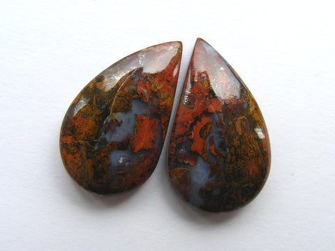 Hungarian Agate Fancy Pear Cabs - Matched Pair