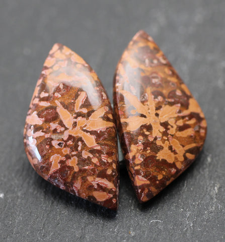 Spider Jasper Fancy Cabs - Matched Pair