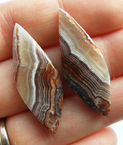 Crazy Lace Agate Fancy Cut Cabs - Matching Pair.