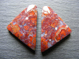 Hungarian Agate Fancy Triangular Cabs - Matching Pair