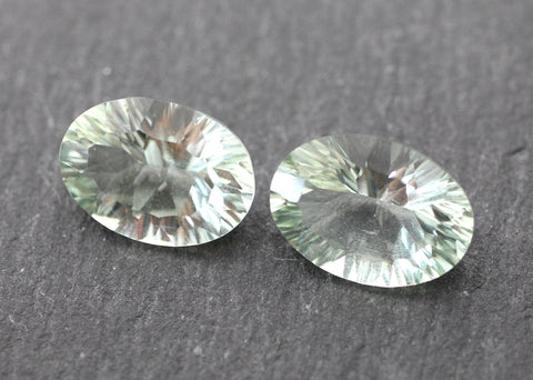 Green Amethyst Oval Faceted Gems.