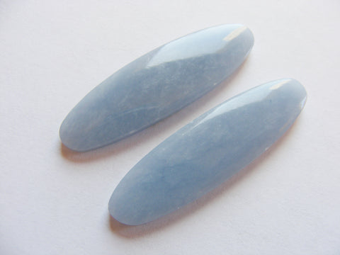 Angelite Long Oval Cabs - Matching Pair
