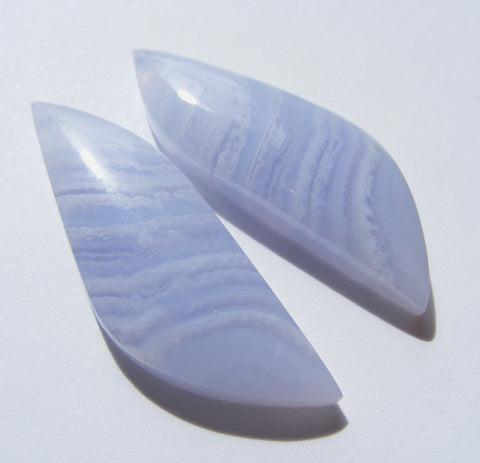 Blue Lace Agate Fancy Cabs - Matching Pair