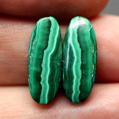 Malachite Oval Cabs - Matching Pair.