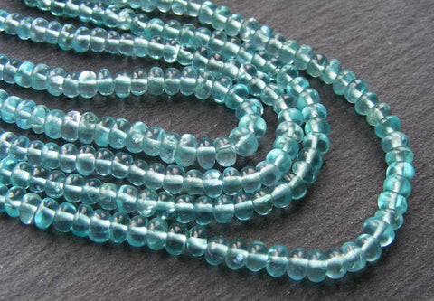 Sky Blue Apatite Smooth Rondelle Beads Strands