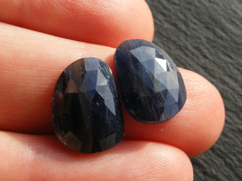 Blue Sapphire Free Form Faceted Cabs - Pair