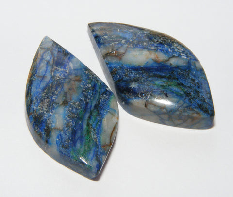 Azurite Fancy Cabs - Matching Pair