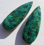 Natural Chrysocolla Pear Cab - Matched Pair
