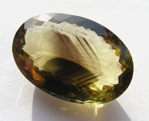Bi-Colour Lemon Quartz Faceted Oval Gem