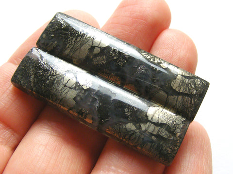 Marcastite in Agate Rectangular Cabs - Matching Pair