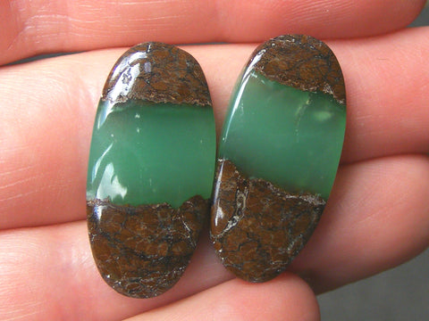 Chrysoprase Oval Cabs - Matching Pair