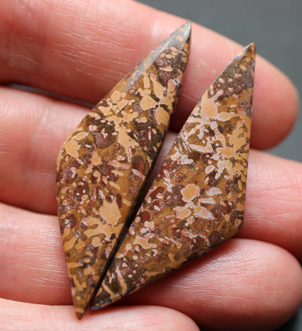 Spider Jasper Triangular Cabs - Matching Pair