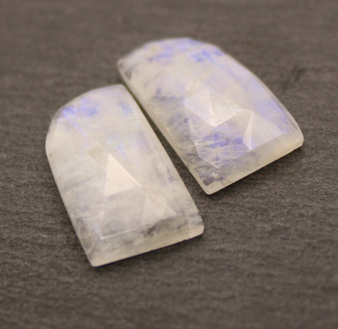 Rainbow Moonstone Faceted Fancy Cabs - Matching Pair.