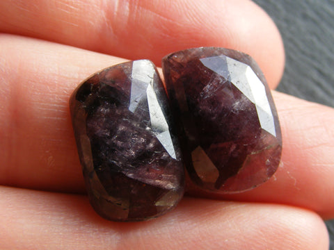 Red Purple Faceted Sapphire Fancy Cabs - Matching Pair