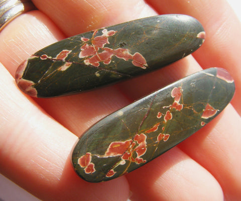 Noreena Jasper Long Oval Cabs - Matching pair