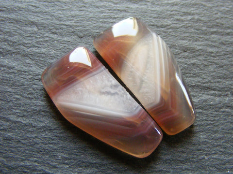 Botswana Agate Fancy Cabs - Matching Pair