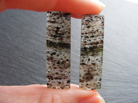Black Dot Rutile Quartz Rectangular Cabs - Matched Pair
