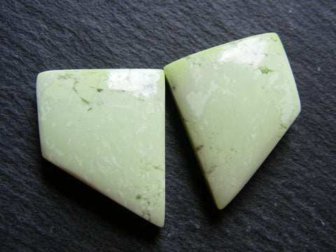 Lemon Chrysoprase Fancy Cut Cabs - Matching Pair