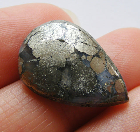 Marcasite in Agate Pear Cabochon