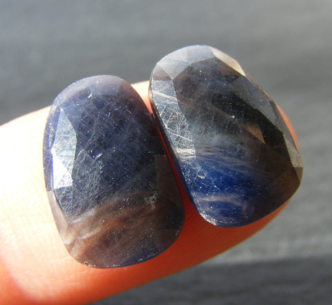 Blue sapphire Faceted Cabs - Fancy Cut Matching Pair