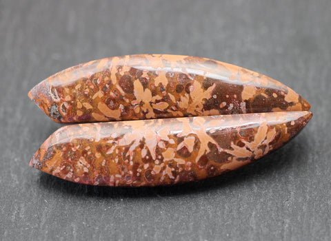 Spider Jasper Fancy Cabs - Matching Pair