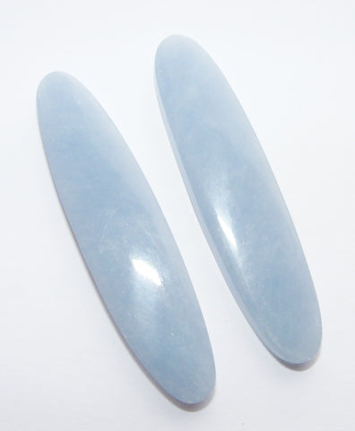 Angelite Long Oval Cabs - Matched Pair