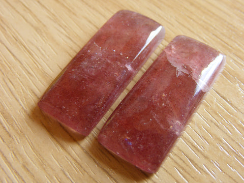 Strawberry Quartz Rectangular Cabs - Matching Pair