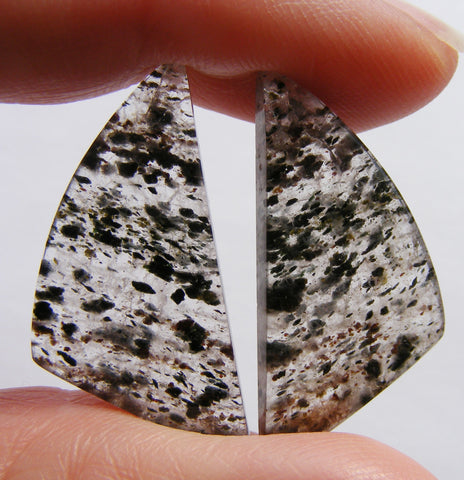 Black Dot Rutile Quartz Fancy Cut Cabs - Matched Pair