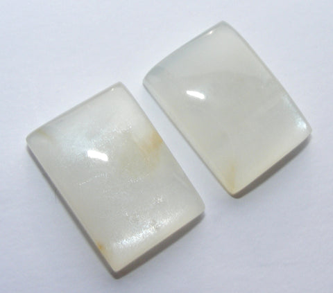 White Moonstone Rectangular Cabs - Matching Pair